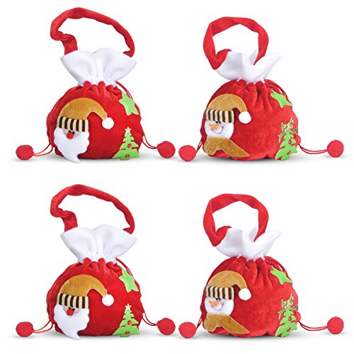 Snowman Drawstring Candy Bag (4 pk Christmas Gift Bags Hanging Drawstring Plush Fabric Santa Snowman Holiday Treat Candy Bags for Kids)