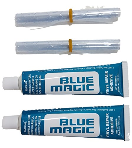 Two Vinyl Repair kits for Waterbed mattresses, Air beds, Inflatable toys, Rafts, Inflatable pool seats, Beach balls, Pool covers, Boat / auto interiors, Seat covers, Spa covers and most products that are made with vinyl material