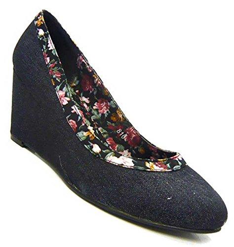 Schuh-City Designer Damen Schuhe Pumps elegante Keil Pumps schwarz 36