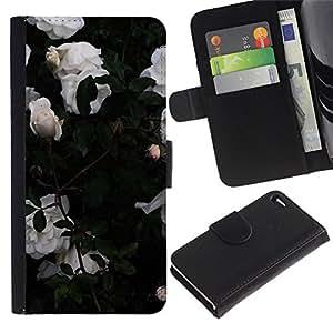 A-type (Roses Garden Bush Flowers) Colorida Impresión Funda Cuero Monedero Caja Bolsa Cubierta Caja Piel Card Slots Para Apple Apple iPhone 4 / iPhone 4S