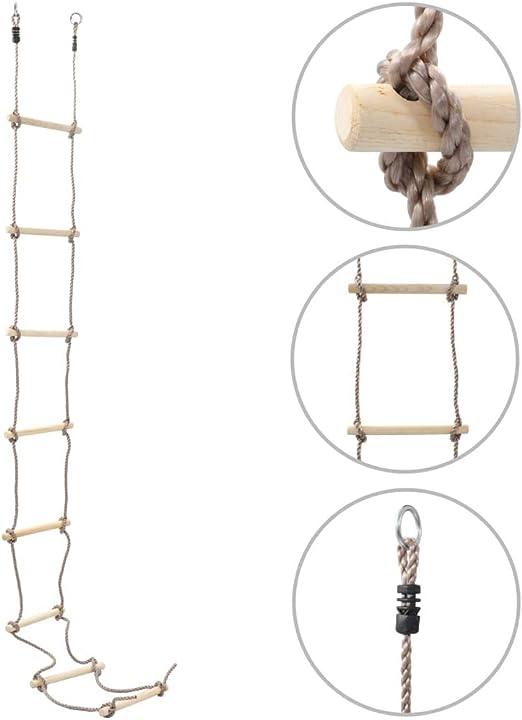 Tidyard Escalera de Cuerda para niños niños con peldaños de Madera Ideal para Escalada, árbol, casa de Juegos 290 cm Madera: Amazon.es: Hogar