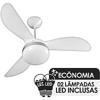 Ventilador de Teto Ventisol Fênix Branco/Silver 3 Pás, Cv3, 02 Lâmpadas Led Inclusas - 220v
