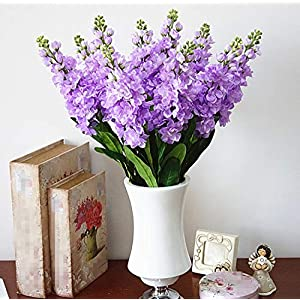 "Skyseen 6PCS Stems 32"" Artificial Antirrhinum Snapdragon Silk Hyacinth Flowers(Light Purple) 4"