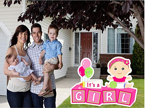 Welcome New Baby''It's a Girl'' Yard Announcement - Pink Outdoor Baby Shower Party Sign - Festive Newborn Lawn Stork Birth Decoration - Pregnancy Gift (Pink) by Cute News (Image #2)