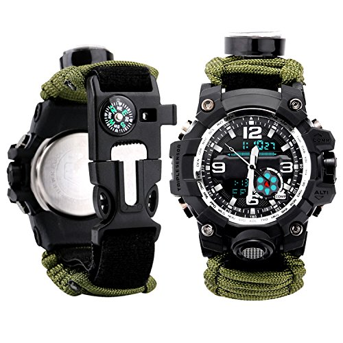 Men Watch Sport Watch Survival Watch with Paracord/Whistle/Fire Starter/Scraper/Compass and Thermometer 6 in 1