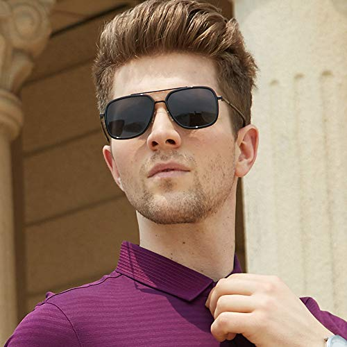 sol UV Gris Polarizado Rectangular 100 Mens Gafas Proteccion de Hombres de Plaza Gafas Aleacion sol pvq6wnO