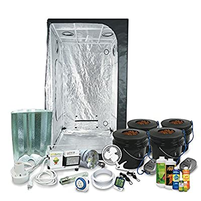 "Complete 3 x 3 (39""x39""x79"") Grow Tent Package With 400-Watt HPS Grow Light + DWC Hydroponic System & Nutrients"