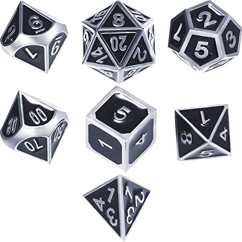 (TLL TECHNOLOGY Zinc Alloy Shiny Silver with Black Enamel Metal Polyhedral 7-Die Dice Set Metal Role Playing Game Dice Set for Dungeons and Dragons, RPG Dice Gaming, D&D, Math Teaching (Black))