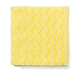 RUBBERMAID COMMERCIAL PROD. Reusable Cleaning Cloths, Microfiber, 16 x 16, Yellow, 12/Carton (Q610)