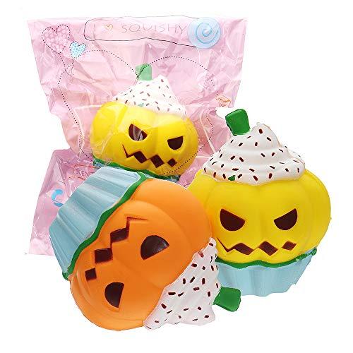 Ninth-city 3PCS Halloween Pumpkin Ice Cream Squishy 5.123.93inch Slow Rising Soft Toy Packaging ()