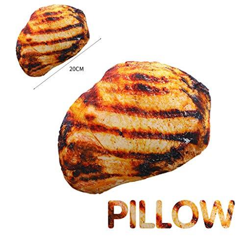 AIUSD Clearance , Simulation Grilled Pork Chop Pillow Soft Lumbar Back Cushion Plush Food Pillow