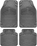 #9: Motorup America Auto Floor Mats (Set of 4) - Fits Select Vehicles Car Truck Van SUV - Tail Fin, Gray