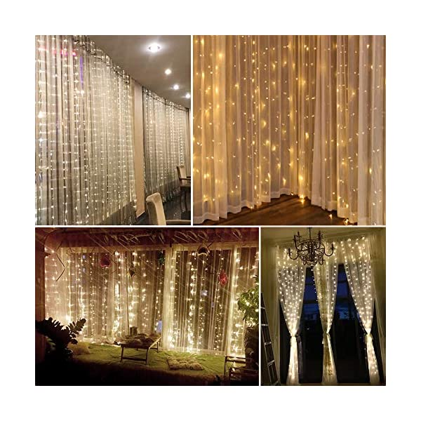 Tomshine Tenda Luci LED 3 x 3 meters, 300 LEDs con Luci Natale Tenda, IP65, 8 Programmi di Luce,Tenda di Luci per Natale, Decorazione Feste, Interni (Bianco Caldo) 2 spesavip