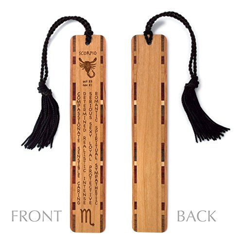Scorpio Zodiac Personality (Scorpio Zodiac Sign Artwork and Positive Personality Traits Engraved Wood Bookmark With Inlays and Tassel - Personalized version also available - search B074V33BRG.)