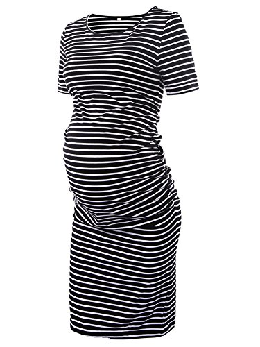 Women's Ruched Maternity Bodycon Dress Mama Causual Short Sleeve Wrap Dresses - Matters Maternity T-shirt
