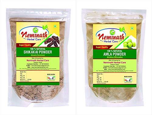 Neminath Herbal Care 100% Natural Shikakai Pods (Acacia Concinna) Amla Fruit (Emblica Officinalis) Powder For Hair Care Naturally (Pack Of 2) (200 Grams) (Powder Amla Shikakai)