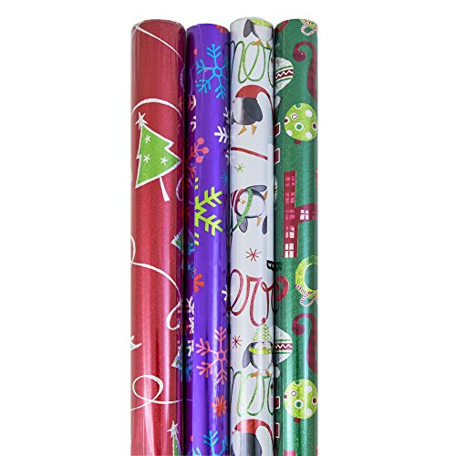 JAM Paper® Design Wrapping Paper Christmas Sets - 60 sq ft. - Red & Green Tree, Stripes, Sparkly Red Pack - 4/pack