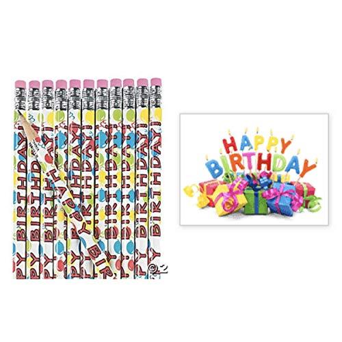 (24 Happy Birthday Pencils & 24 Stickers (3
