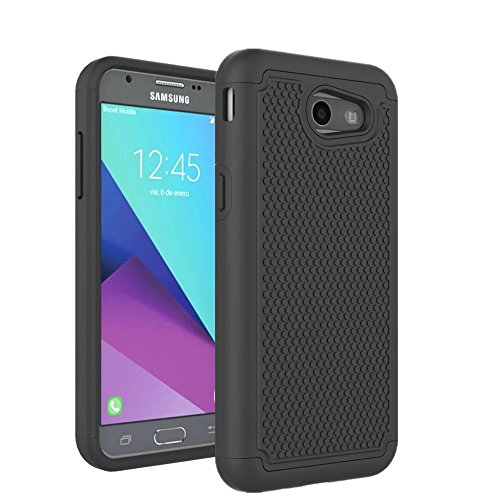 Armor Express - TOPBIN For Samsung Galaxy J3 Emerge Case, Galaxy J3 2017 Case, Galaxy J3 Prime Case, Amp Prime 2 Case, Express Prime 2 Case, Hybrid Dual Layer Armor Defender Protection Case Cover (Black)