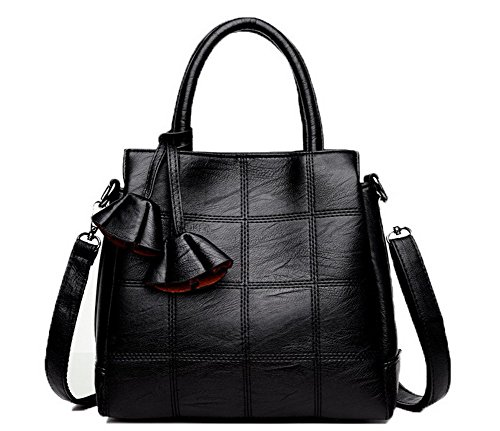 Odomolor Mujeres Casual Moda Bolsas de mano Pu Encantos Bolsos cruzados,ROPBL180892,Negro Negro