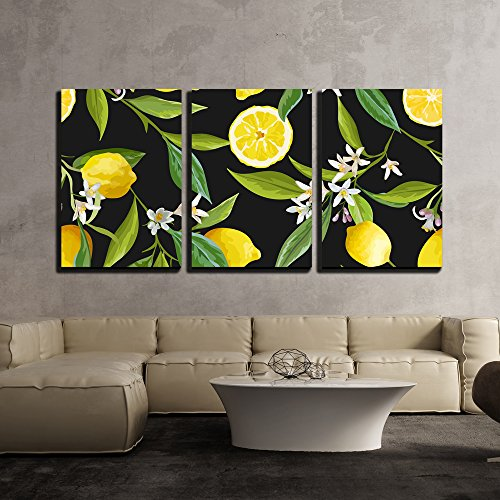 wall26 - 3 Piece Canvas Wall Art - Vector - Seamless Pattern. Lemon Fruits Background. Floral Pattern - Modern Home Decor Stretched and Framed Ready to Hang - 16