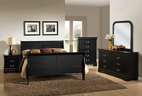 Roundhill Furniture Isony 594 Louis Philippe Style Wood Bedroom Furniture Set, Queen Bed, Dresser, Mirror, Nightstand and Chest, Black (Mirror And Wood Nightstand)