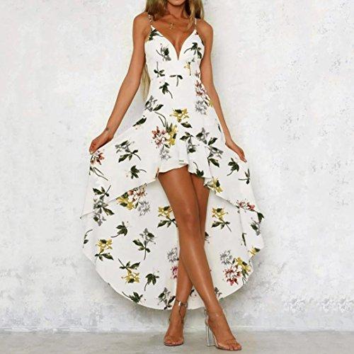 Täglichen Casual Tauchen Damen Lange Abendkleid Urlaub Sommer Schulterfrei Weiß Strandkleid Party Blumendruck Maxi Vemow Elegante