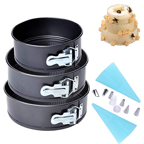 """QUIENKITCH Springform Pan 3PCS (7""""8""""9"""") Cake Pan Bakeware Cheesecake Pan With 6xRussian Piping Icing Tips and 2x Silicone Pastry Bags Cake Decorating Set"""
