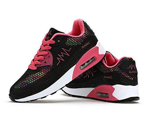 No.66 Stad Kvinna Luft Tillfällig Gång Löparskor Mode Sneaker # 952 Svart