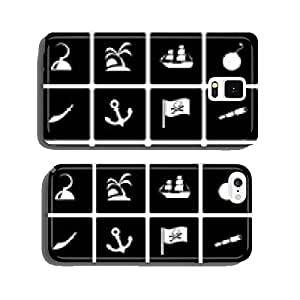 Vector black pirate icon set cell phone cover case iPhone6 Plus