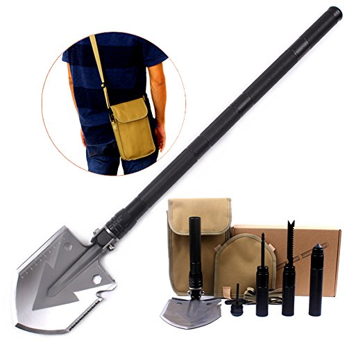 Pagreberya Survival Shovel Kit with Multi Tools Compass Knife Saw Firestarter Screwdriver Attack Cone, Compact and Portable Folding Shovel for Camping Backpacking Travel - Bonus Carrying Bag and Strap