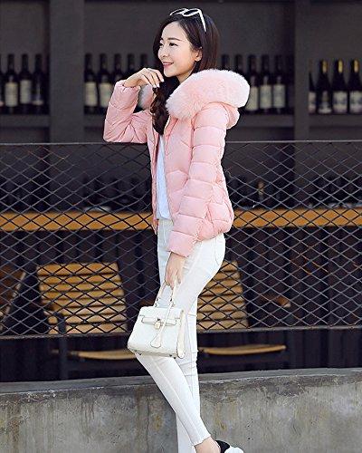 Mujeres algodón Chaqueta Outcoat Quilting Chaqueta largas Pink Abajo Mezcla Grueso de Corto Mangas 88wErZq