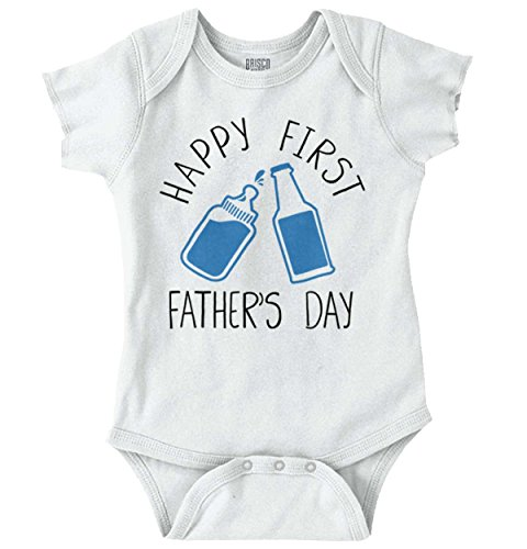 (First Fathers Day Adorable Milk Beer Cheers Romper Bodysuit White)