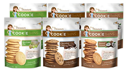Mrs. Thinster's Cookie Thins Variety Pack, Chocolate Chip, Toasted Coconut, Key Lime Pie Flavor, Thin Crunchy Cookies, Non-GMO, No Artificial Ingredients, Peanut-Free, 4oz Bags, Pack of 6
