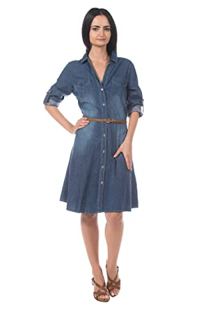 a572838356d Women s Denim Jean Cotton Skinny Belt Belted Cuffed Sleeve Fit Flare Shirt  Dress ...