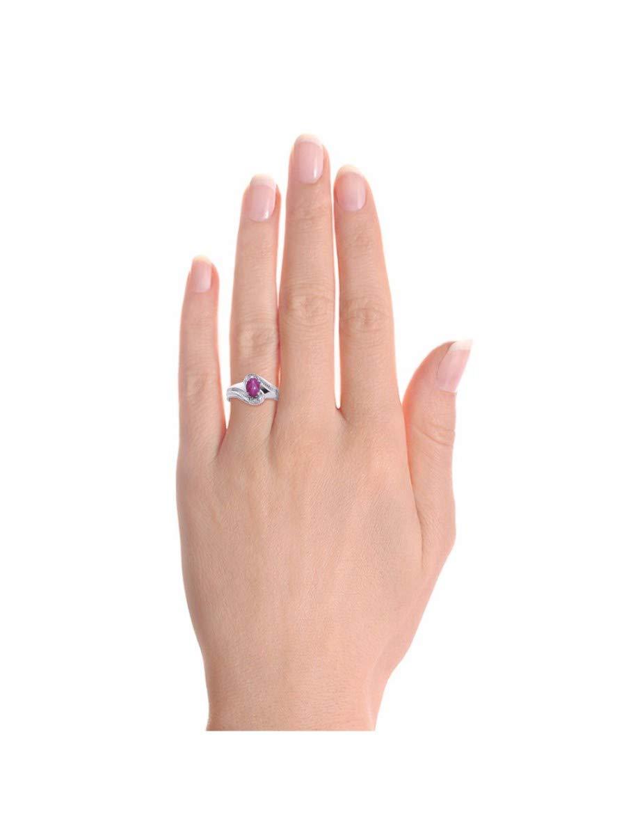 RYLOS Simply Elegant Beautiful Red Star Ruby & Diamond Ring - July Birthstone by Rylos (Image #2)