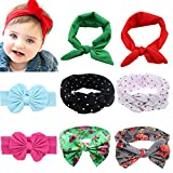 Baby Elastic Hair Hoops Headbands,Girl's Multicolor Hairbands Bunny Ears 8 Pack