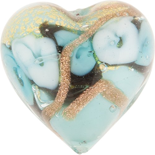 Aqua with Aventurina and 24kt Gold Foil Bed of Roses 16mm Heart Murano Glass Bead Handmade Lampwork -