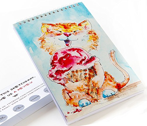 Creative Sketchbook for Drawing or Writing by TravelArt – 100 pages – Hand-Painted Designs – Great for Kids or Adults – Spiral Portable Sketch Pad