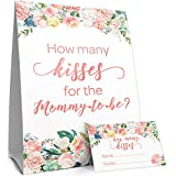 How Many Kisses Baby Shower Game - Floral - Standing Sign and 30 Guess Cards