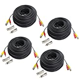 Hykamic 4 Pack 150ft BNC Video Power Cable Security Camera Wire Cord for CCTV DVR Surveillance System, Support 1080P Security Cameras Systems, Made by Pure Copper