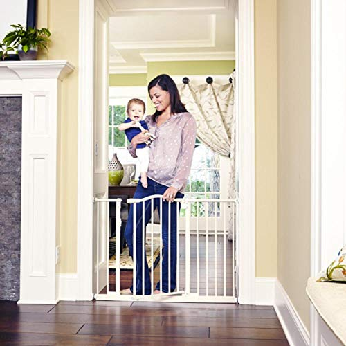 Toddleroo by North States 46.8 wide Wide Portico Arch Baby Gate Heavy duty metal safety gate with one hand operation. Pressure Mount. Fits 28.2 -46.8 wide 30 tall, Soft White