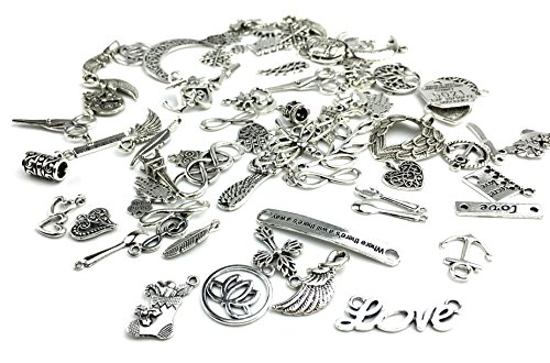 (Yansanido 100 Gram Assorted DIY Antique Charms Pendant Mixed Charms Pendants (Silver))