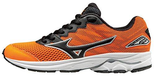 Mizuno Wave Rider 20 Jr, Chaussures de Running Entrainement Garçon, Orange (Clownfish/Black/Silver), 36 EU