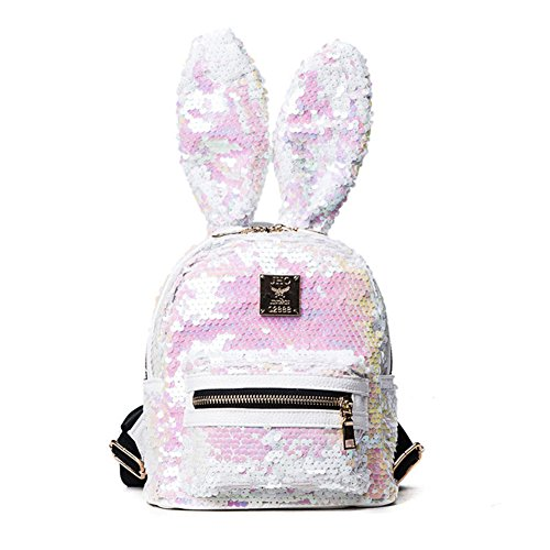 Women Cute Rabbit Ears Backpack Sequins Shoulder Bag Schoolbag Travel Daypack (Sequin Bunny)