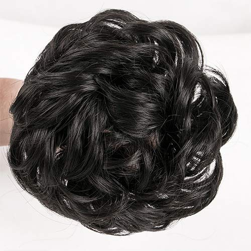 KING ARTHUR Elastic Hairband Wig Wavy Curly Messy Donut Chignons Hair Piece Wig Synthetic Hair Bun Extensions Messy Hairpieces for Women Girls Mom daughter (natural black)
