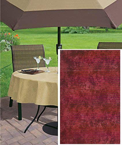 Newbridge Milano Marble Solid Color Print Heavy Gauge Vinyl Flannel Backed Tablecloth, Indoor/Outdoor Tablecloth for Picnic, Barbeque, Patio and Kitchen Dining (Brick Red, 70