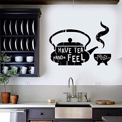 (LLHLLH Classic Home Decor for Kitchen Tea Teapot Cafe Teahouse Vinyl Wall Sticker Teahouse Restaurant Wall Decals Removable 79X57CM)