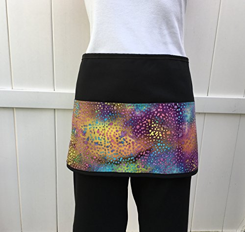 (Waitress or Server 3 Pocket, waist half, Tie-dye printed design black apron for: cooking, kitchen, and restaurants.(Handmade Janets Aprons) 300 different aprons!)