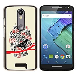 LECELL--Funda protectora / Cubierta / Piel For Motorola MOTO X3 3rd -- Cuervo Cuervo Negro Pájaro Poema Edgar Poe --